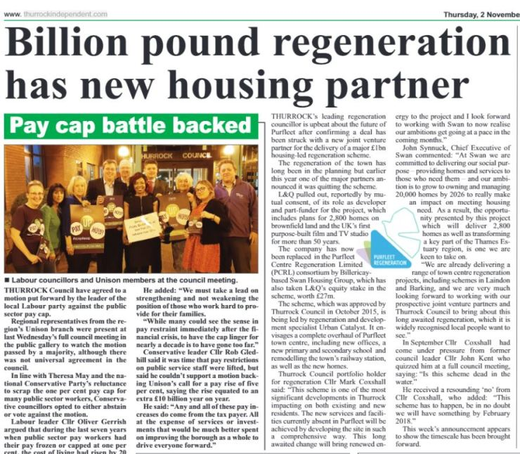 17.11.02 billion pound regeneration, p23. Thurrock Independant