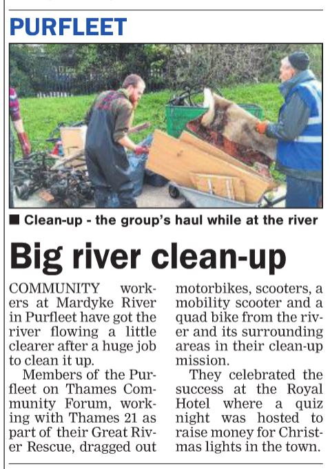 17.11.02 Mardyke River clean up, p10. Thurrock Gazette