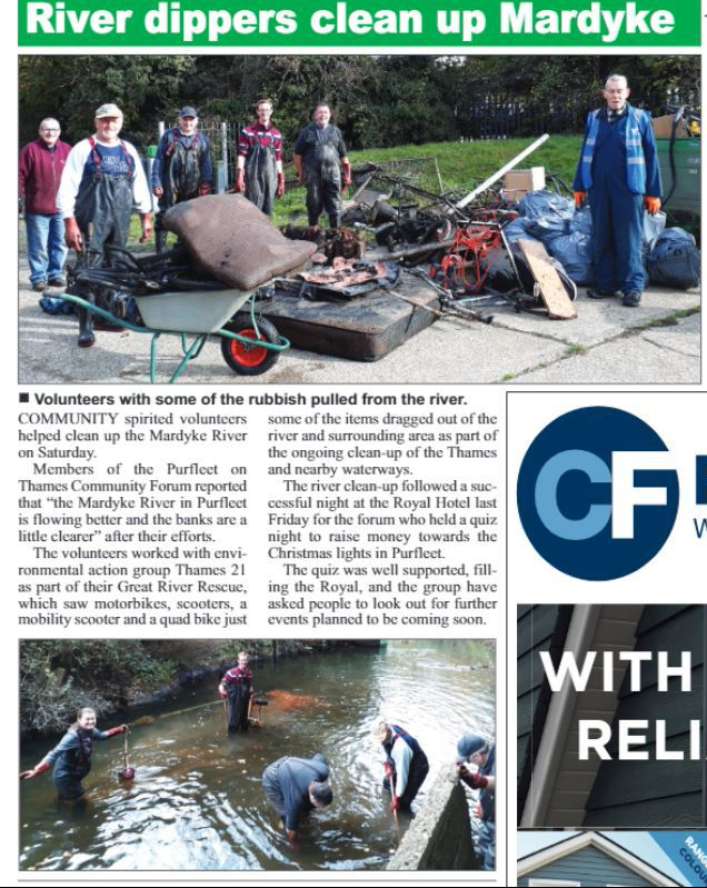 17.11.02 Mardyke River clean up, p11. Thurrock Independant