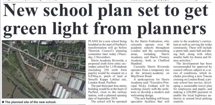 17.11.02 new school gets green light, p14. Thurrock Independant