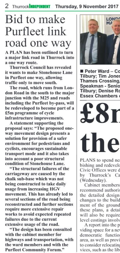 17.11.09 bid to make Stonehouse Lane one way, p.2, The Thurrock Independant