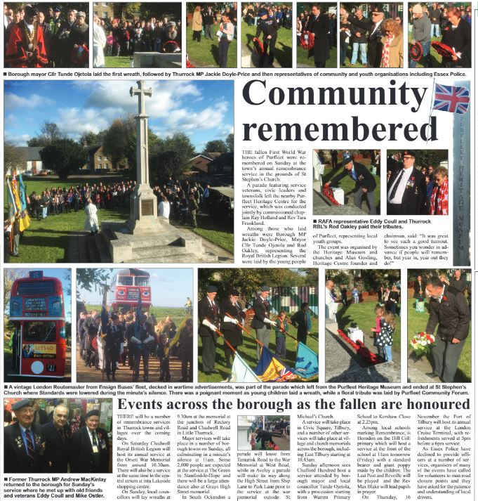 17.11.09 community remembered, p 20&21. The Independant
