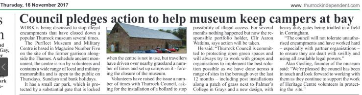 17.11.16 Council pledge action by the Heritage Centre, p8, The Thurrock Indepentant