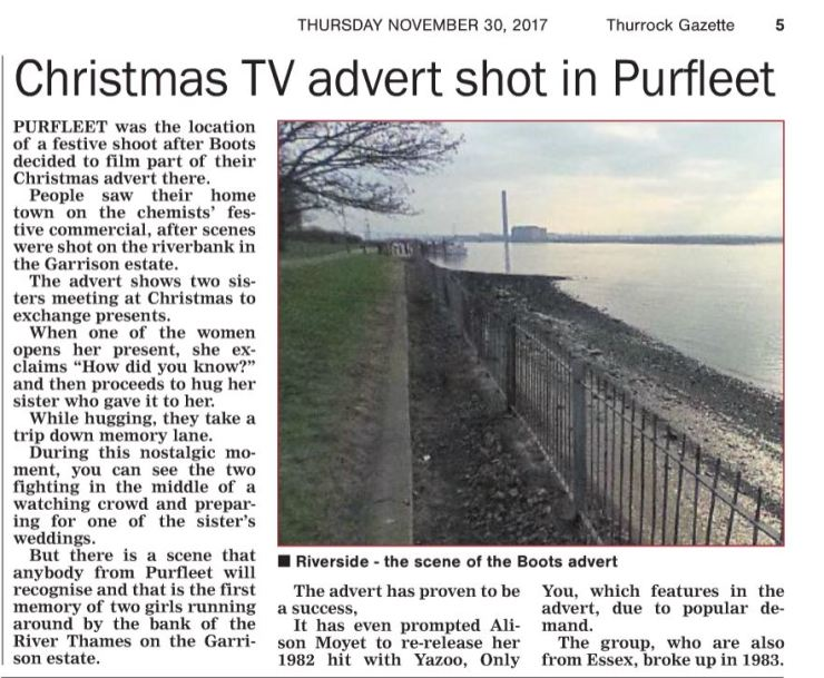 17.11.30 Boots Christmas ad shot in Purfleet, p5. Thurrock Gazette