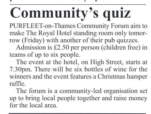 17.12.14 PCRL community quiz p3. Thurrock Independant