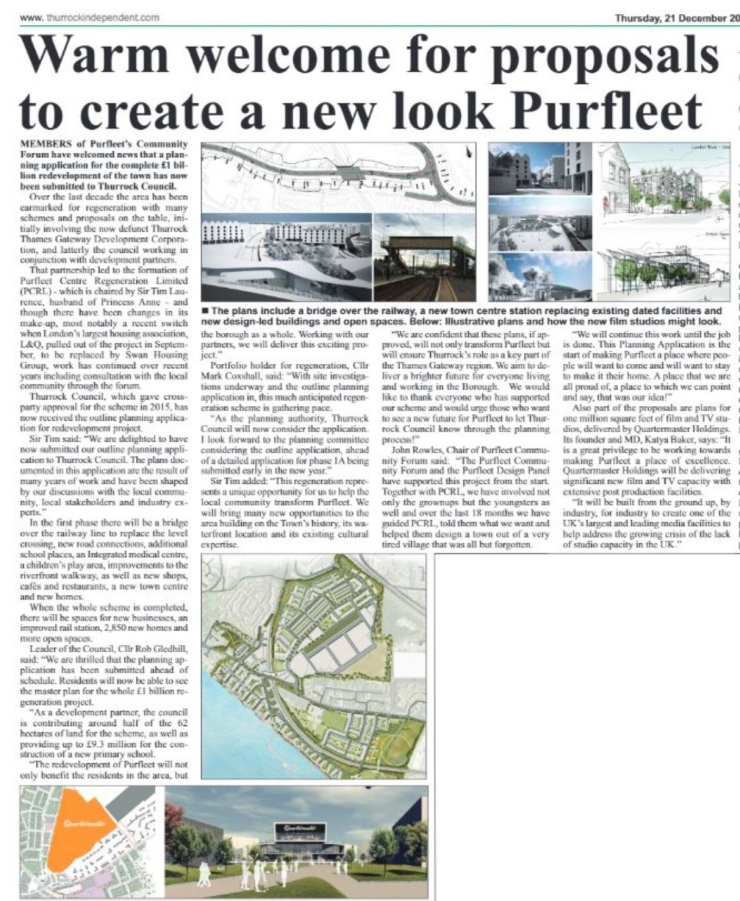 17.12.21 warm welcome for proposals for new look Purfleet p3. Thurrock Independant