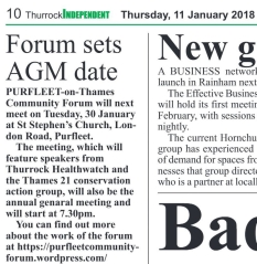 18.01.14 Forum sets AGM date p10. Thurrock Independant