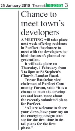 18.01.25 chance to meet the town's developers p3. Thurrock Independant