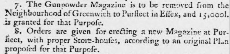 1759.12.22 announcement the Gunpowder Magazine will move to Purfleet, Ipswich Journal