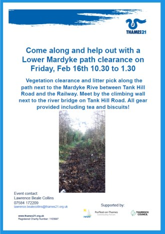 18.02.16 Lower Mardyke path clearance,Thames 21