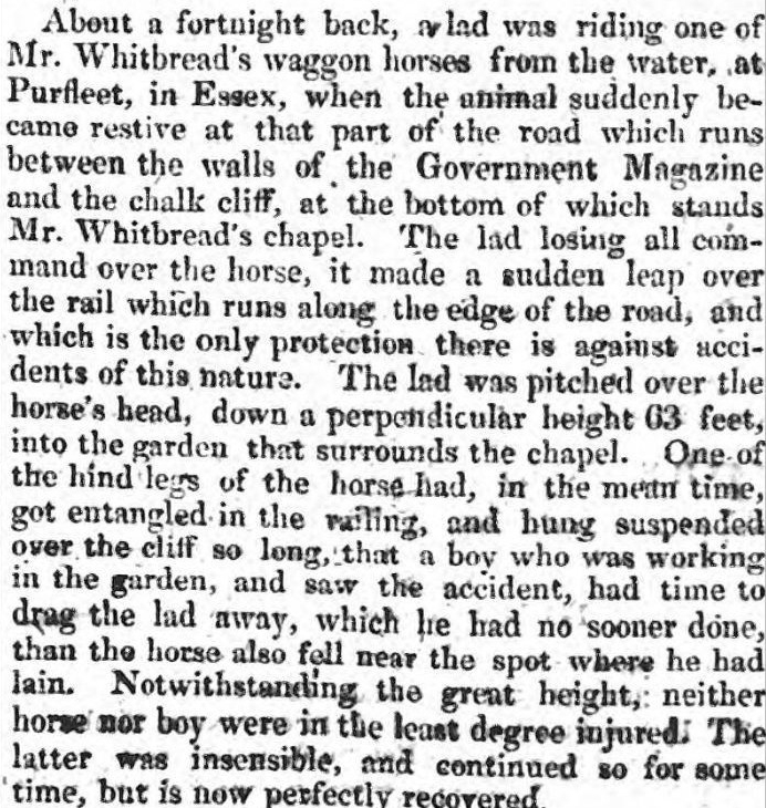 1827.04.05 lad named Sparks and horse fell over cliff edge, Public Ledger & Daily Advertiser