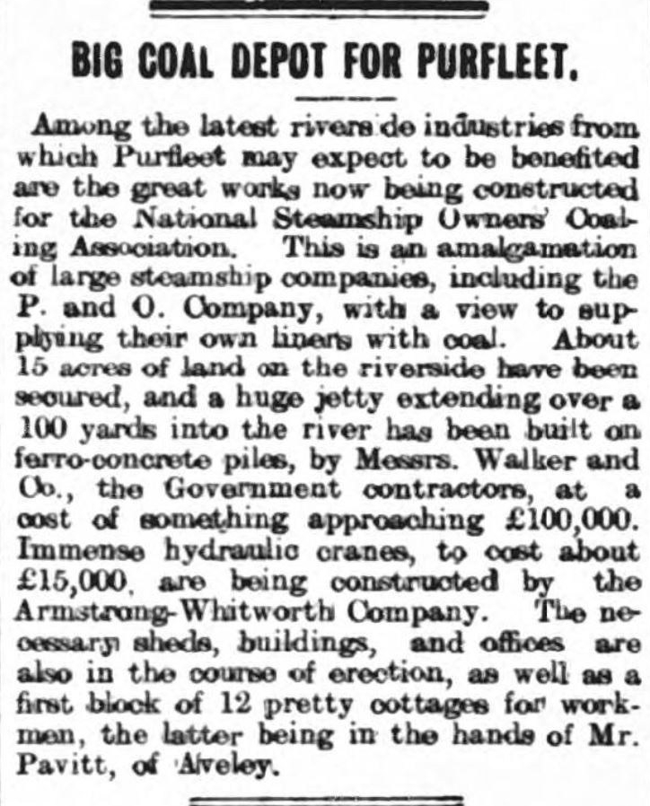 1905.02 11 big new coal depot for Purfleet, Grays & Tilbury Gazette, and Southend Telegraph