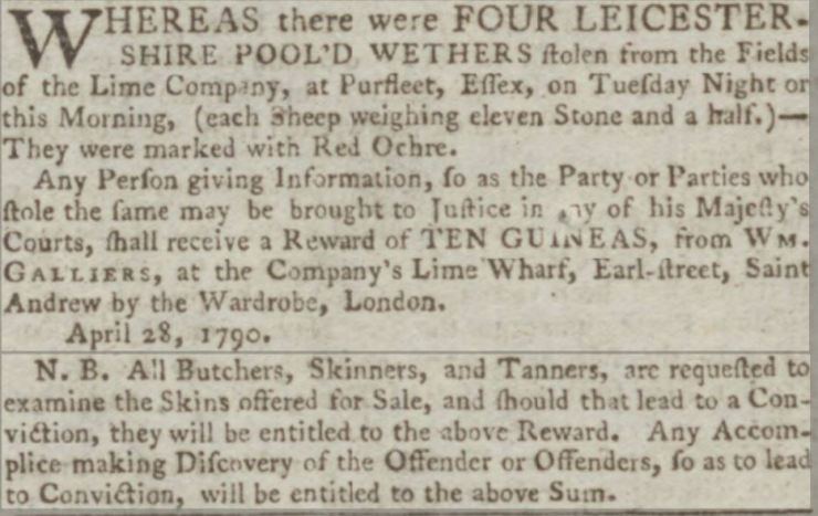 1790.04.30 10 guinea reward for theft from Lime Works Purfleet, Kentish Gazette