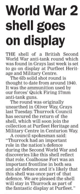 18.03.10 WW2 shell goes on display at Heritage Centre. p6. Thurrock Gazette