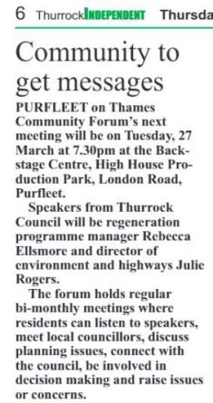 18.03.22 forum announcement, p6. Thurrock Independant