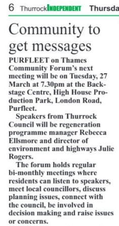 18.03.22 forum announcement, p6. Thurrock Independant