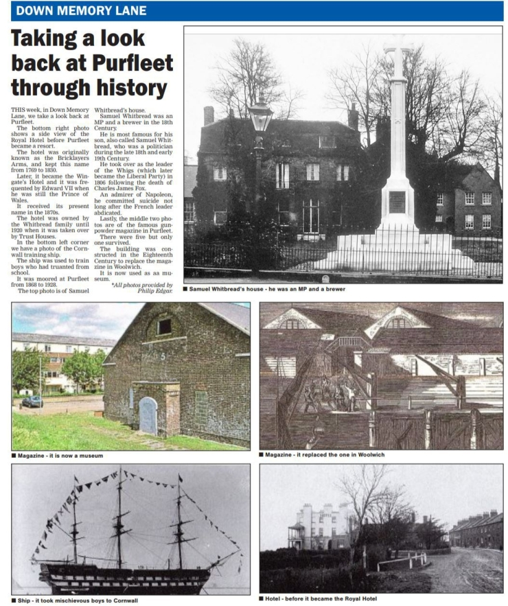18.03.29 general purfleet history. p12. Thurrock Gazette