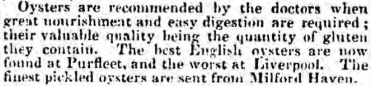 1838.07.28 the best English oysters, Clare Journal, and Ennis Advertiser, ROI