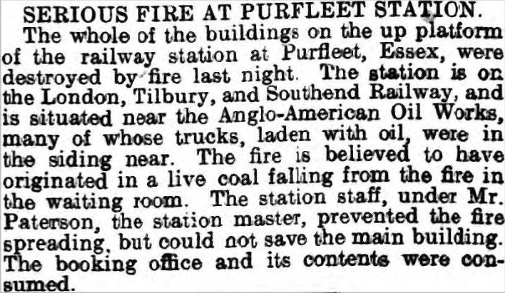1903.3.04 serious fire at Purfleet station, The Globe