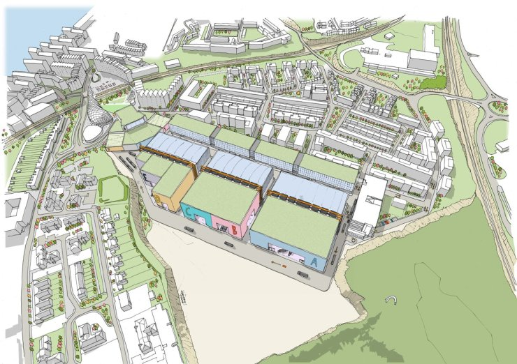 Aerial view looking west onto centre of regeneration area