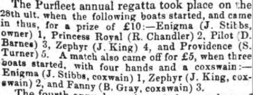 1849.06.08 Purfleet Annual Regatta, Chelmsford Chronicle