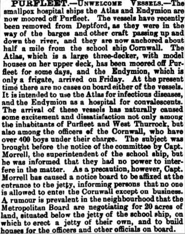 1882.10.09 smallpox ships Atlas & Endymion, Essex Herald