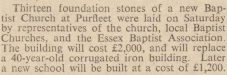 1938.07.29 laying of 13 foundation stones to Baptist Chrurch, Chelmsford Chronicle