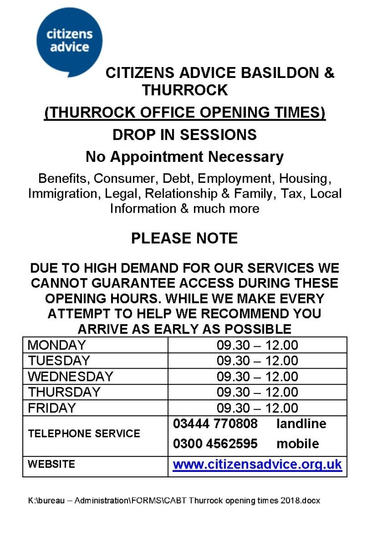CABT Thurrock opening times 2018