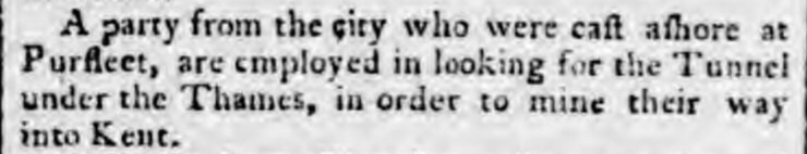 1799.08.24 looking for a tunnel under the Thames, Staffordshire Advertiser