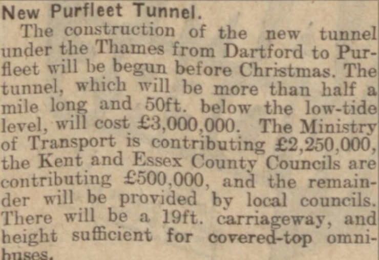 1930.09.12 Purfleet Tunnel to start before Christmas, Chelmsford Chronicle