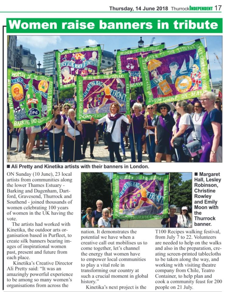 18.06.14 Women raise banners in tribute p17. Thurrock Independant
