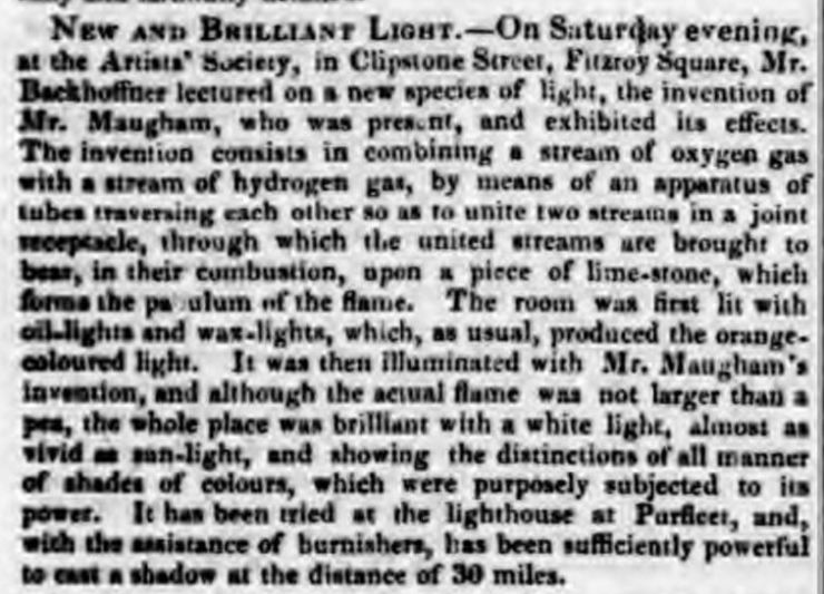 1836.11.03 new type of lighthouse trialed at Purfleet, Worcester Journal