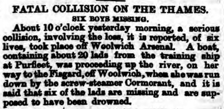 1870.09.09 6 x boys from the Cornwall run down, Shields Daily Gazette