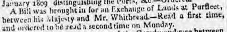 1809.03.02 bill for exchange of land at Purfleet between HM Government & Mr Whitbread, Morning Chronicle