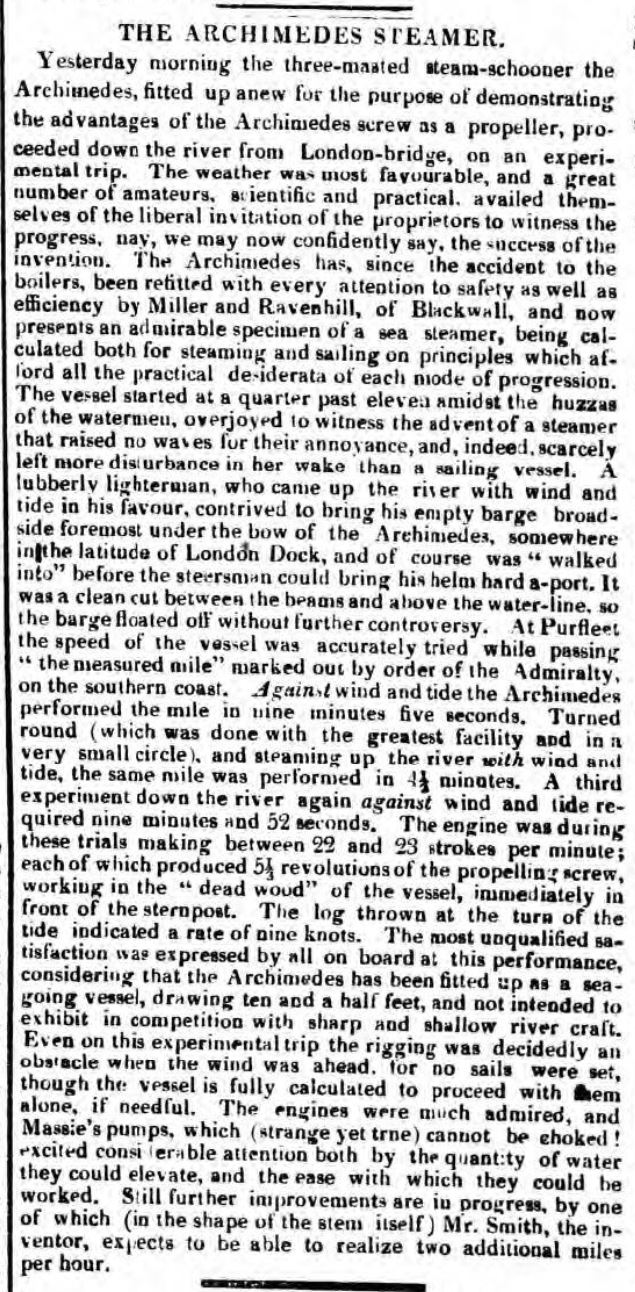 1839.10.15 ref to the Measured Mile, Morning Post