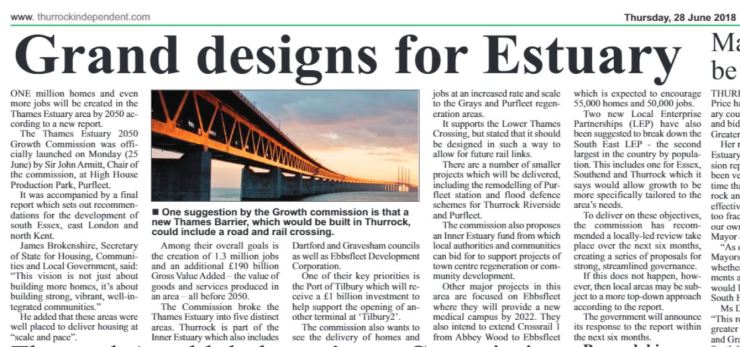 18.06.28 grand designs for the estuary p21. Thurrock Independant