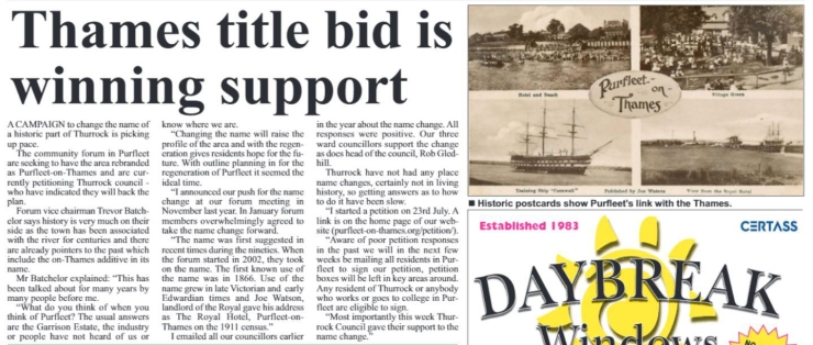 18.08.02 Thames title bid is winning support, p3. Thurrock Independant
