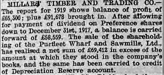 1920.08.07 sale of shareholding of Purfleet Wharf & Sawmills, Gloucester Citizen