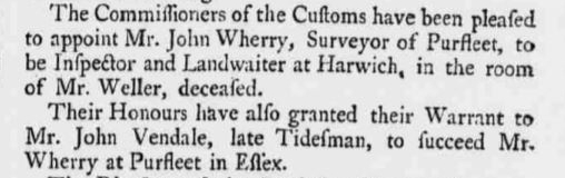 1739.10.20 John Wherry & surveyor succeded by John Vendale, The Ipswich Courier