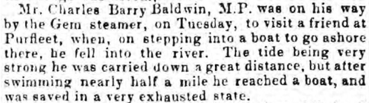 1850.04.23 Charles Barry Baldwin MP falls into river, Chelmsford Chronicle