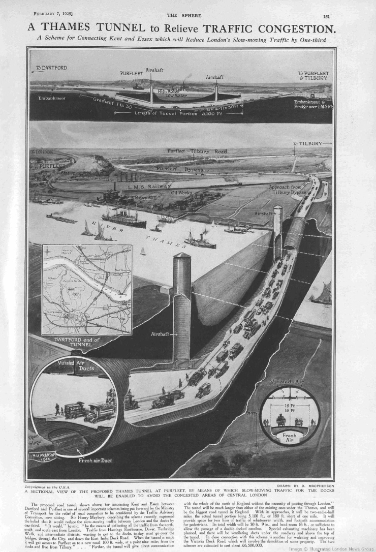 1925.02.07 proposed new tunnel at Purfleet, The Sphere