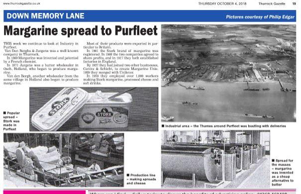 18.10.04 Margarine spread to Purfleet, p4. Thurrock Gazette