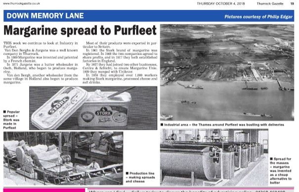 18.10.04 Margarine spread to Purfleet, p4. Thurrock Gazette