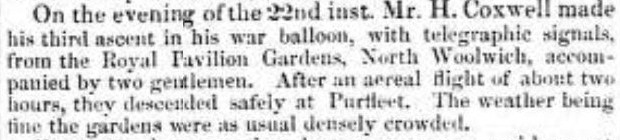 1855.08.31 war balloon land in densly populated gardens, Essex Standard