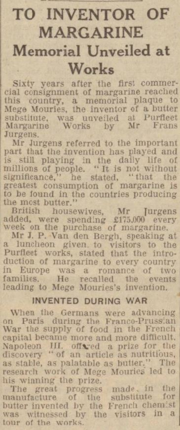 1934.05.31 memorial to inventor of margarine, Hull Daily Mail