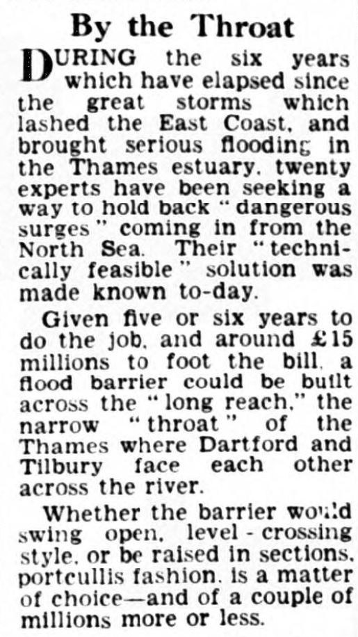 1960.03.03 early talk of a flood barrier at Long Reach Tilbury, Birmingham Daily Post
