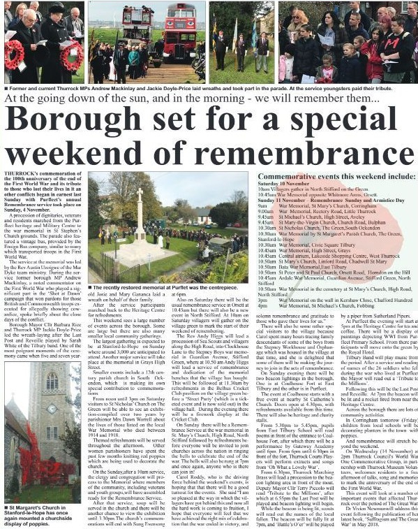18.11.08 Remembrance Day, p14 &15. Thurrock Independant