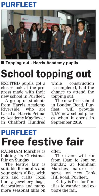 18.11.29 Toping out at Harris Riverside & Rainham Fair, p8 Thurrock Gazette