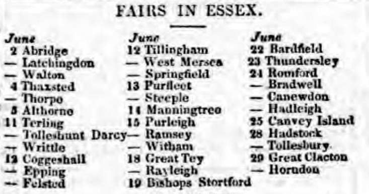 1832.06.02 Purfleet in list of fairs, Essex Standard