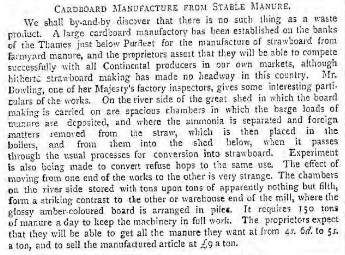 1888.04.03 cardboard from stable manure, Pall Mall Gazette